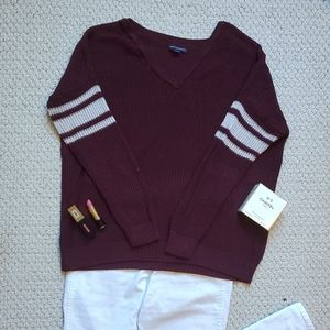 Purple & Silver Striped Sweater